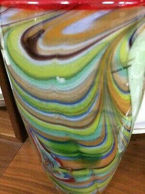 "Vintage Murano Art Glass Multicolored  Large 12"" Vase"