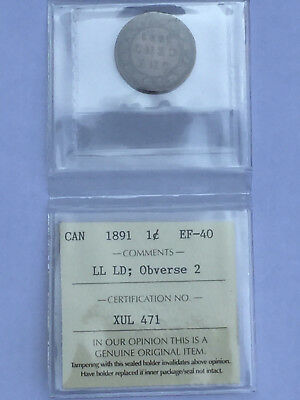 1891 Canada Victoria Large Date Large Leaves Cent ICCS graded EF  40 LL LD Obv2