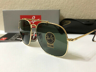RAY-BAN General Square SUNGLASSES Gold Frame/Green Classic Lenses size 57MM