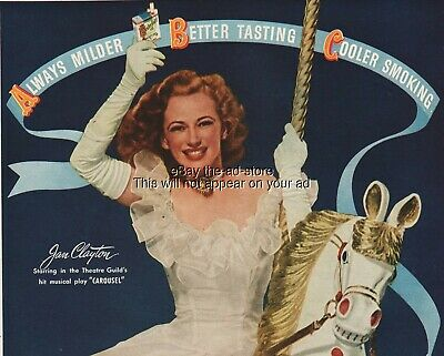 1945 Chesterfield Cigarettes Jan Clayton on Carousel Horse Photo WWII Era Ad