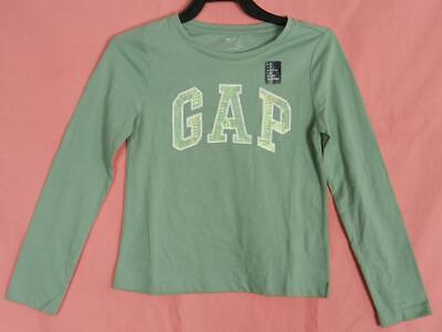 GAP Girls Embellished Sequin Arch Logo Long Sleeve Tee T-Shirt Top, S 6-7, NEW