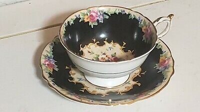 Rare Paragon black cup and saucer needlepoint roses double warrant