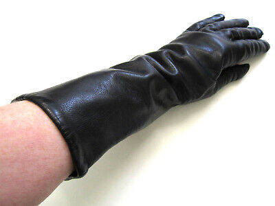 "ITALY BLACK LEATHER 13"" GLOVES w/ ACRYLIC LINING, sz 8 THICK, SOFT, WARM EUC"