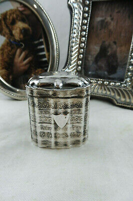 Antique Sterling Silver Tall Hinged Lidded Embossed Trinket Box