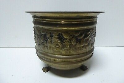 Vintage Embossed Brass Jardineer Planter Pot Stand Made In England Claw Feet