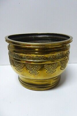 Old Brass Embossed Jardineer Pot Plant Holder