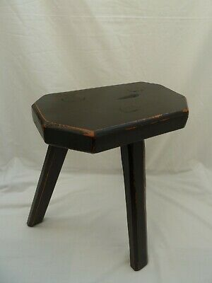 Wooden Milking Stool Painted Black - 3 Legs