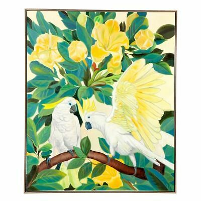 NEW CAFE Lighting & Living Sitting Cockatoo Framed Canvas Painting
