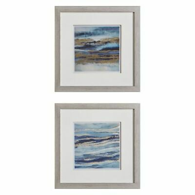 NEW Castle Road Interiors Layer Waves Framed Wall Art (Set of 2)