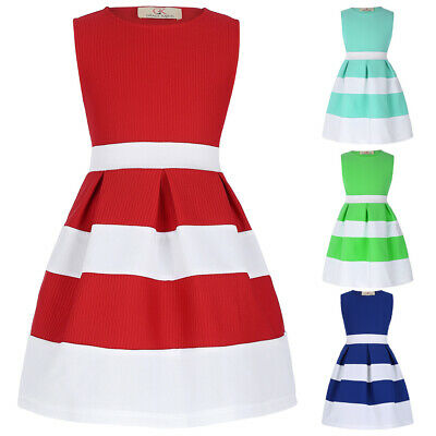 Girls Skater Dress New Kids Sleeveless Party Fit A-line Dresses Ages 2-12 Years