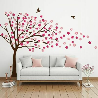 NEW Vinyl Design Blowing Tree with Flowers Wall Decal