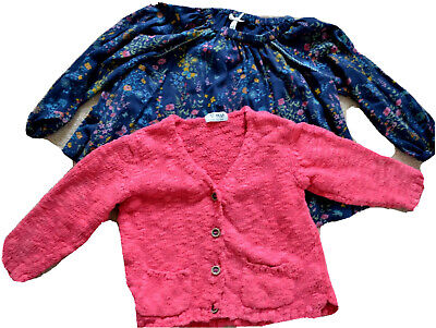 NEXT Girl's bundle blue ditsy top pink cardigan size 2-3 years