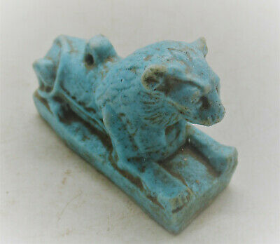 Circa 600Bce Ancient Egyptian Glazed Faience Sphinx Amulet Statuette