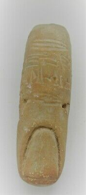 Ancient Near Eastern Clay Finger With Early Form Of Writing Inscription Rare