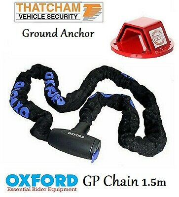 Oxford Security Motorcycle Motorbike GP Chain 1.5m + Mammoth Ground Anchor