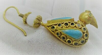 Ancient Near Eastern Gold Earring With Stones In The Form Of A Bird