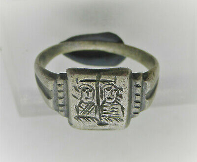Byzantine Era Silver Crusaders Ring Two Priests Standing Under Cross 700Ad