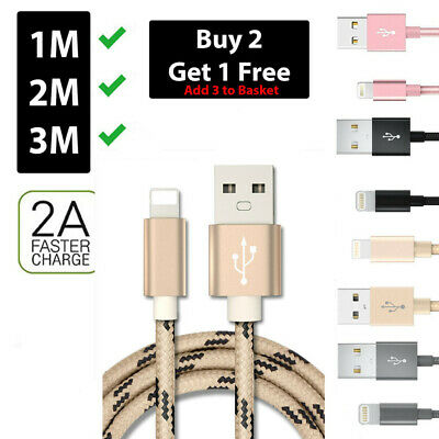 Heavy Duty Metal Braided Lightning USB Charger Cable 1M 2M 3M For iPhone X 7 8 6