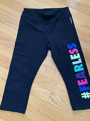 Reebok Girls Cropped Black Leggings Size M  10-12 Fearless Athletic Yoga Pants