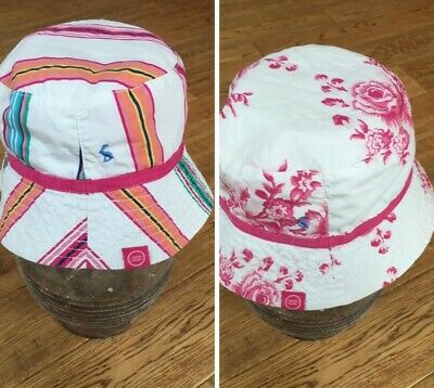 Girl's summer hat sun hat size reversible pink floral stripes  JOULES 5-7 years