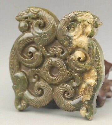 Chinese old natural jade hand-carved statue double dragon pendant 3.1 inch