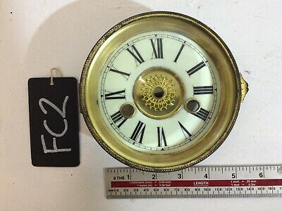 "Antique Clock Enamel Dial, Surround, Bezel & Glass - 5 1/4"" Nice Condition (Fc2)"