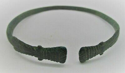 Ancient Viking Bronze Bracelet With Decorative Head Terminals