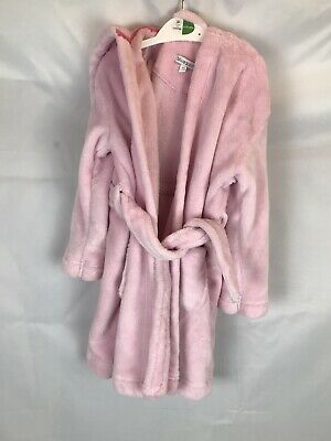 Blue Zoo Age 3-4 Pink Dressing Gown Fluffy Hood Ears  B1