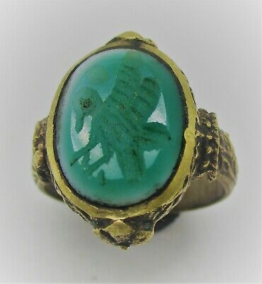 Post Medieval Islamic Gold Plated Ring With Agate Intaglio Stone