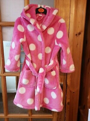 Girls Dressing Gown Pink With White Spots Age 3-4 Years