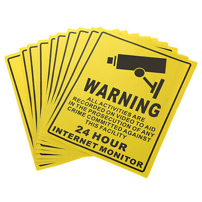 10Pieecs Security Surveillance Warning Sign Decals Stickers for CCTV Camera