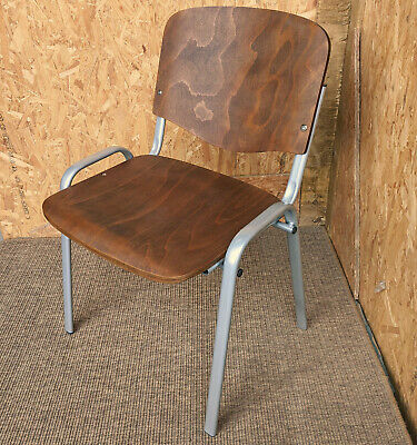New Stacking Retro School Chair Metal & Bentwood Ply Cafe Bar Vintage Industrial