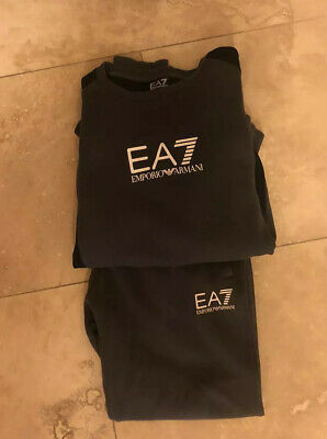 Genuine Mens Ea7 Full Tracksuit Top And Joggers Size Xl/ L Grey & Black Vgc