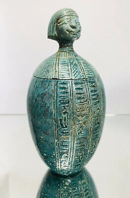 Ancient Egyptian Blue Faience Canopic Jar of Imsety - Human - Liver Protector