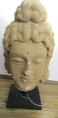 Circa 200 - 300Ad Ancient Gandhara Stucco Statue Fragment Head Of Buddha Huge