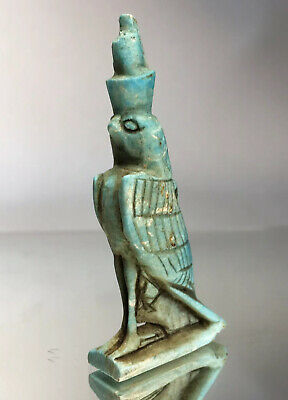 Rare God Horus Falcon Ancient Egyptian Blue Faience Amulet Pendant