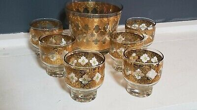 MCM Culver Valencia Gold Glass Bar Set Ice Bucket