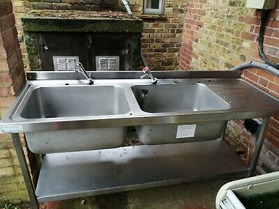 Double sink , right hand drainer stainless steel commercial sink and taps  Used
