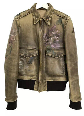 GUCCI - Vintage looking leather jacket with floreal motifs