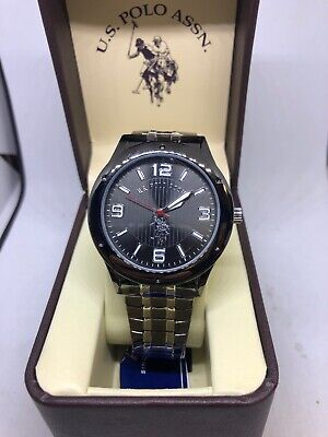 US Polo Assn Mens Usc80195 Black Silver Analog Expansion Watch #CC119