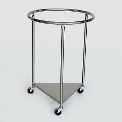 "MCM-2001 Round Top 25"" Stainless Steel Rolling Portable Linen Hamper New"