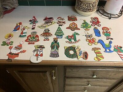 Vtg Lot Of 24 Flat Wood 2 Sided Hand Painted Christmas Ornaments~Wooden~Adorable