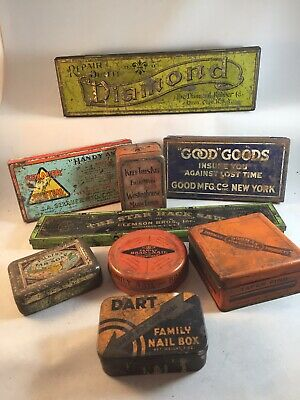 LOT of Vtg Antique Advertising Tins - Good Goods, Sexauer +++- Garage clearout!