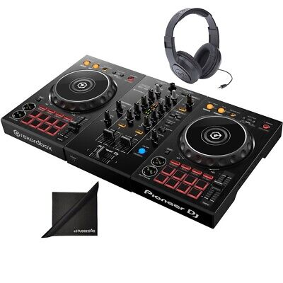 Pioneer DJ DDJ-400  Rekordbox DJ Controller w/ Samson SR Headphones,Polish Cloth