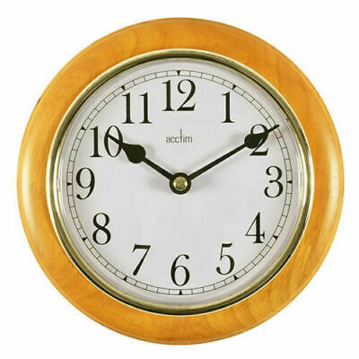 Maine Wall Clock Cherry Gold Colour Bezel With Plastic Lens Wooden Case Clock