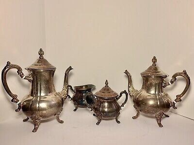 4 Pc Towle Louis Philippe Silverplate Tea Set Coffee Teapot Creamer Sugar