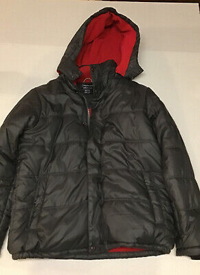 Calvin Klein Jeans Boys Puffer Jacket W/Hood Black With Red Sz 14-16, Winter