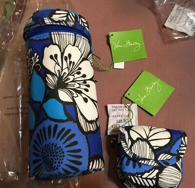 NWT Vera Bradley Bottle Caddy insulated carrier + pacifier pod in Blue Bayou NEW