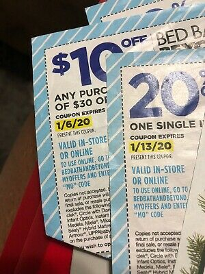 Bed Bath Beyond 20% off 1 Item & $10 off $30 or more purchase.