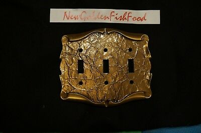 Vintage Amerock Carriage House Triple Switch Plate Cover Antique Brass